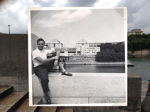 Pappa på muren i Paris