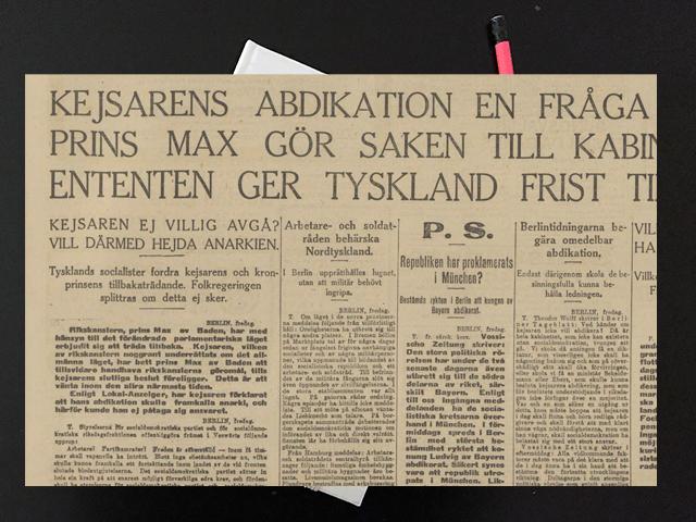 Lördag den 9 november 1918. Tänk ändå vilka tider vi leva i.