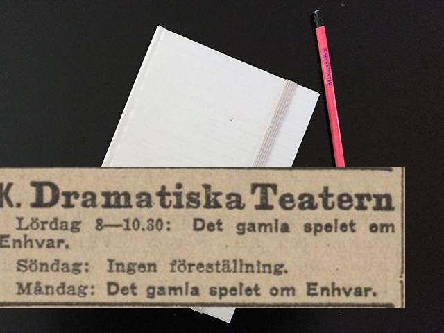 Måndag den 28 augusti 1916. Anders de Wahl spelade som sagt alldeles överdådigt.