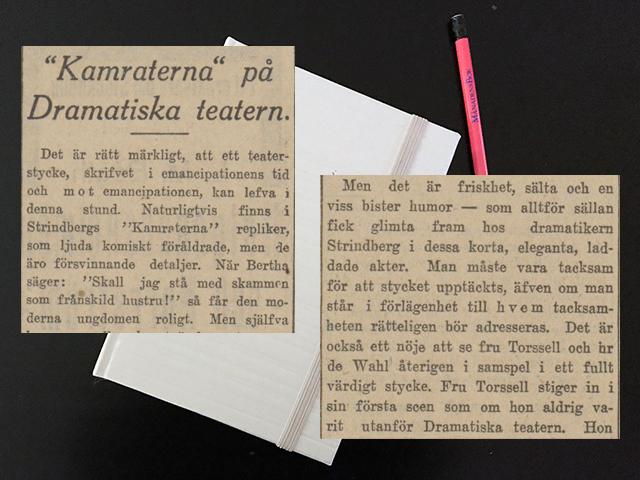 Torsdag den 21 december 1916. Man blir inte glad, när man ser Strindbergs pjäser.