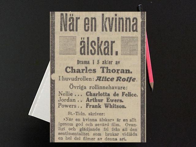 """Söndag den 14 maj 1916. En liten ynklig """"bio"""" med en gammal mamsell."""