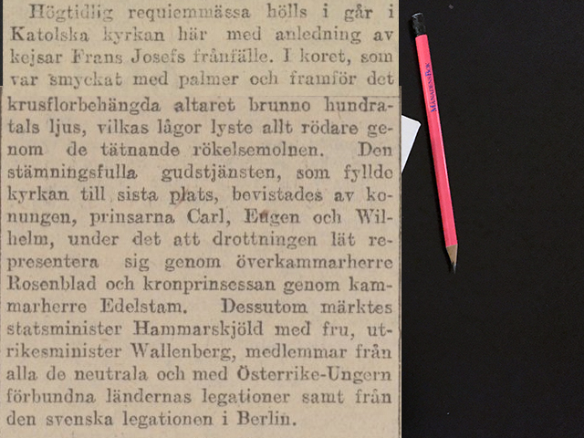 Lördag den 2 december 1916. Kungen, Karl, Eugene och Vilhelm hade infunnit sig.