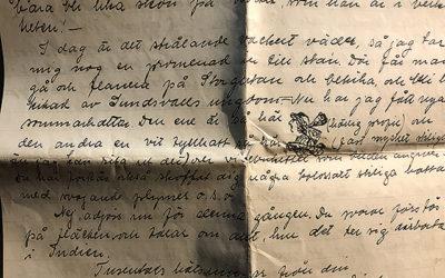 Judit skriver brev från Sundsvall till Indien.